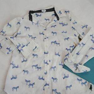 Crown & Ivy petite Size PS zebra shirt